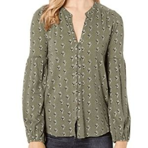 Lucky Brand puff sleeve peasant top size S/P